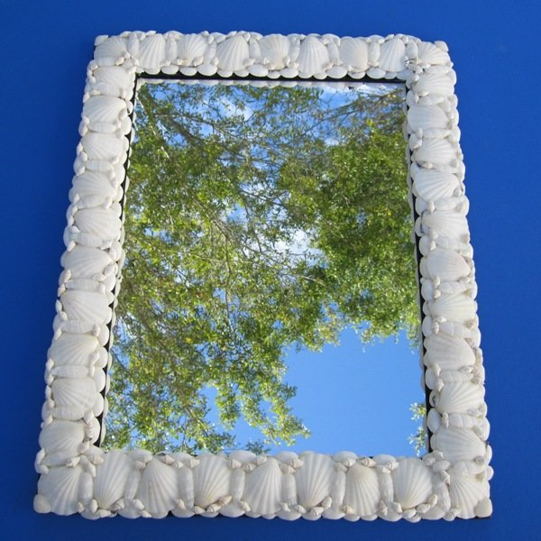 16 x 20 large white seashell mirrors wholesale for Large white mirrors for sale