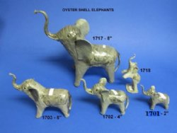 4 inch wholesale elephant novelties made out of crushed oyster shells and clay -- $9.60 dz (.80 ea);  5 dozen or more @ $8.64 a dozen (.72 ea)