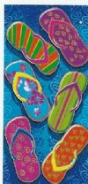 "28"" x 58"" Fiber reactive wholesale beach towels with Flip Flops - Pack of 6 @ $6.20 each; Case of 12 @ $5.85 ea"