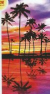 "28"" x 58"" Fiber reactive Tropical Palm wholesale beach towels  - Pack of 6 @ $6.20 each; Case of 12 @ $5.85 ea"