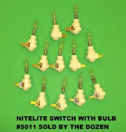 Wholesale night light switch with bulb, buff color,  - Bag of 10 @ $1.35 each; Tray of 50 @ $1.26 each;