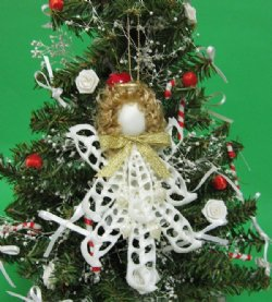 White Center Cut Cerithium Seashell Angel Christmas Ornaments Wholesale Packed 5 @ $1.85 each(Discount: 25 pcs (5 packs) + $1.665 each)