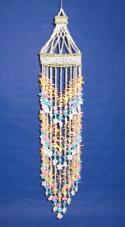 "38"" Large Seashell Chandeliers Wholesale or Large Shell Wind Chime made with yellow shells, blue shells and pink shells - $13.65 each; Box of 5 @ $12.29 each"