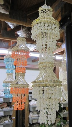 Peach Large Shell Chandeliers Wholesale 33 inches long For Beach Themed Decorating  - Minimum: 2 @ $13.60 each