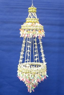 "Wholesale Round Multi Colored Seashell Hanging Flower Baskets 30""  Colors Vary - Minimum: 2 @ $10.75 each"