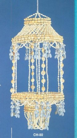 25 inches Wholesale Square Seashell Hanging Baskets for Plants with White & Blue Shells  - Minimum: 2 @ $13.75 each;