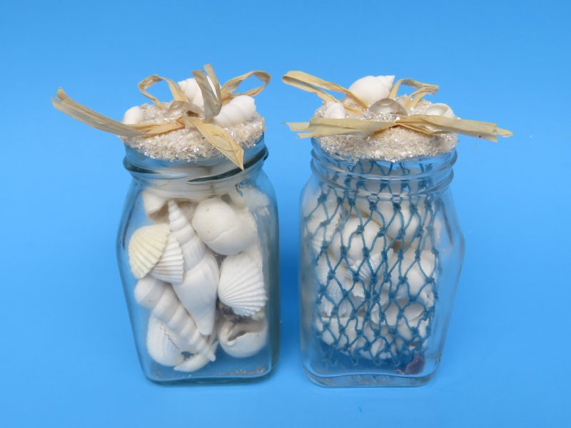 Wholesale 4-1/2 Gift Bottle with Assorted White shells and Netting ...