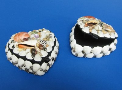 5 inch Wholesale heart seashell jewelry boxes