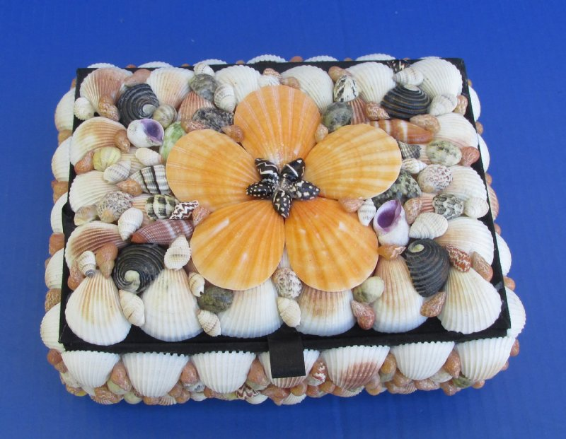 Medium 7 Inch Rectangle Shell Covered Jewelry Box Natural Seashells