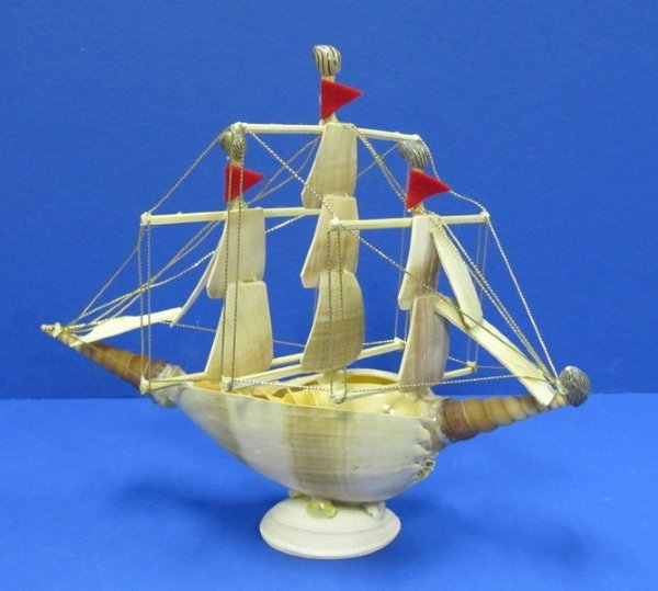 Large Sea Shell Boats or Seashell Ships made out of melon shells 9-1/2  inches wide - Case of 8 @ $3 50 each